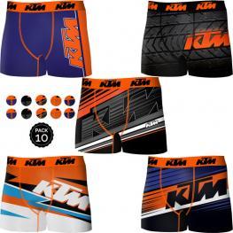 Set 10 Boxer Ktm - Microfibra - Multicolor Diseños Surtidos