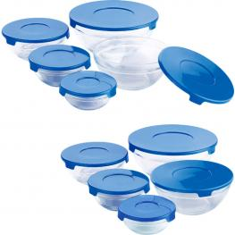 Set 10 Tupperware En Vidrio Tapa Azul: 150, 200, 350, 500 y 900Ml