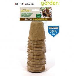 Set 12 Macetas Desechables 6X5.5Cm Little Garden