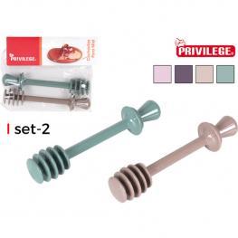 Set 2 Cucharitas Plástico Para Miel Privilege - Colores Surtidos