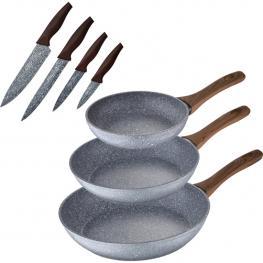 Set 3 Sartenes + Set Cuchillos, Aluminio Forjado, Inducción