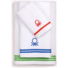 Set 3Pcs Toallas de Baño 450 Gsm 100% Algodon Logo Rojo/azul/verde Casa Benetton