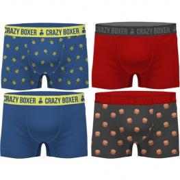 Set 4 Boxers Crazy Boxer  - Pack de 4 - Fabricados En Algodón Biológico