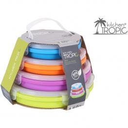 Set 4 Fiambrera Circulares Silicona Colores Cierre Ajustable
