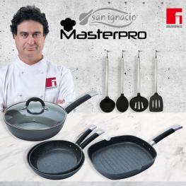 Set 4 Sartenes -Negro, Inducción, Aluminio Forjado + Set 4 Utensilios de Cocina, Nylon