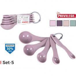 Set 5 Cucharas Medidoras Plástico Privilege - Colores Surtidos