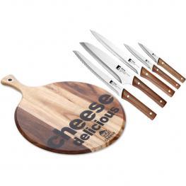 Set 5 Cuchillos Nature + Tabla de Corte Queso