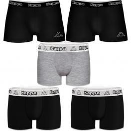 Set 5Pcs Boxers Kappa - Negro y Multicolor - 95% Algodón