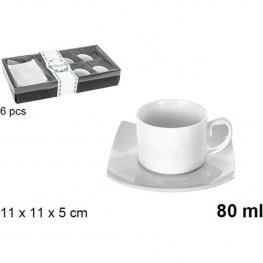 Set 6 Tazas Cafe+6 Platos 80Ml