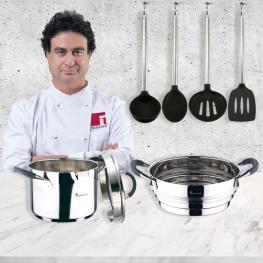 Set Cocción - Olla  y Vaporera Inducción, Cromado, Acero Inox