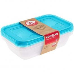 Set de 3 Fiambreras, 3 X 2,4 L, 29 X 19 X 7 Cm, Fredo Fresh, Azul Transparente
