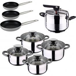 Set de Olla A Presión 5L Sip Duna + Bateria Cocina 8 Pcs + Set 3 Sartenes Professional Chef 10/20/24