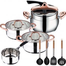Set Infinity Chef: Olla Express + Cazo y 2 Cacerolas + 4 Utensilios