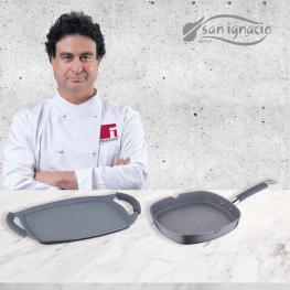 Set Plancha Grill - Grill y Plancha Asador, Gris, Inducción, Aluminio Forjado