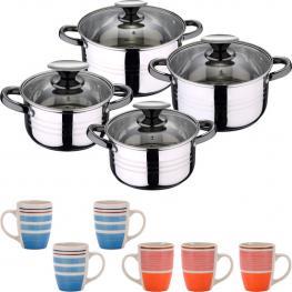 Set Hogar Cocina: Batería 8 Pcs y 6 Mugs