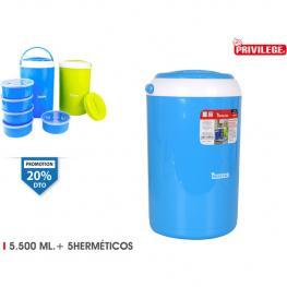 Termo Alimentos Plástico 5500Ml+5Hermeticos Privilege