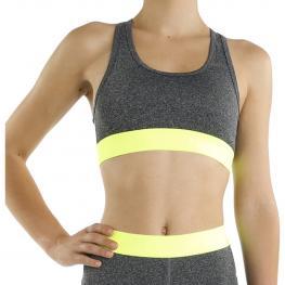 Top Deportivo Para Mujer - Gris-Amarillo