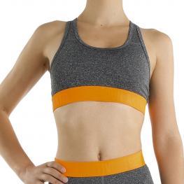 Top Deportivo Para Mujer - Gris-Naranja