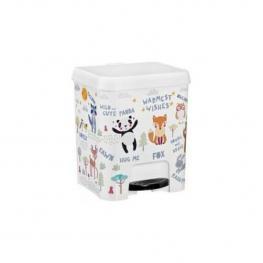 Cubo de Basura Con Pedal 7 Litros En Color Blanco Con Dibujos