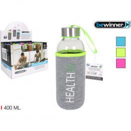 Botella Agua Vidrio Funda Health 400Ml Bewinne