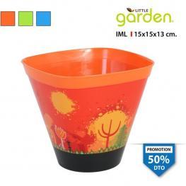 Maceta Cónica 15X15X13Cm C/plato Little Garden - Colores Surtidos