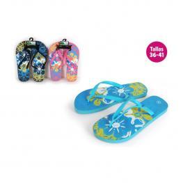 Zapatillas Playa Diseño Flowers Azul Talla 41