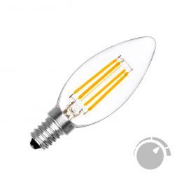Bombilla Filamento Led Vela E14 Cob 4W, Regulable, Blanco Cálido 2700K, Regulable