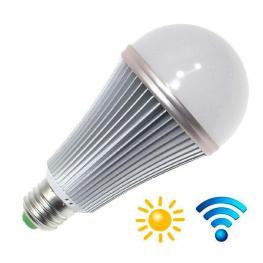 Bombilla Led E27, 12W, Chip Samsung, Sensor Movimiento y Luminosidad, Blanco Cálido