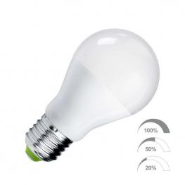 Bombilla Led E27, 240º, 9W, Regulable 100-50-20%, Blanco Frío, Regulable