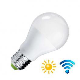 Bombilla Led E27, 9W, Sensor Movimiento y Luminosidad, Blanco Cálido