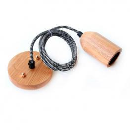 Cable Decorativo Kall Wood Colgante Para Techo, Cable Blanco/negro