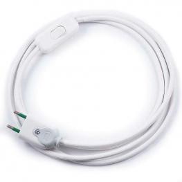 Cable Textil Con Interruptor y Enchufe, 2X0,75Mm, 2M, Blanco