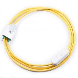 Cable Textil Con Interruptor y Enchufe, 2X0,75Mm, 2M, Amarillo