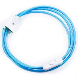 Cable Textil Con Interruptor y Enchufe, 2X0,75Mm, 2M, Azul