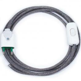 Cable Textil Con Interruptor y Enchufe, 2X0,75Mm, 2M, Negro-Blanco