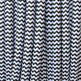 Cable Textil Redondo 2X0,75Mm, 1M, Negro-Blanco