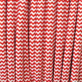 Cable Textil Redondo 2X0,75Mm, 1M, Rojo-Blanco