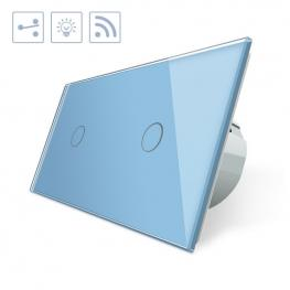 Conmutador Táctil + Remoto, 2 Botones, Frontal Azul
