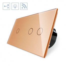 Conmutador Táctil + Remoto, 3 Botones, Frontal Golden