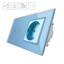 Conmutador Táctil, 2 Botones + 1 Enchufe, Frontal Azul + Remoto