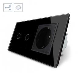 Conmutador Táctil, 2 Botones + 1 Enchufe, Frontal Negro