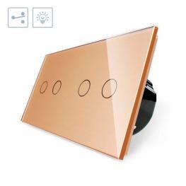 Conmutador Táctil, 4 Botones, Frontal Golden