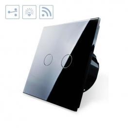 Conmutador Táctil Doble + Remoto, Frontal Negro