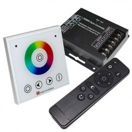 Controlador Rf Rgbw Táctil Empotrable + Mando A Distancia