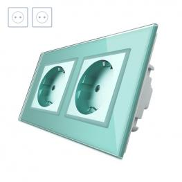 Enchufe Socket Doble Eu 16A, Frontal Verde