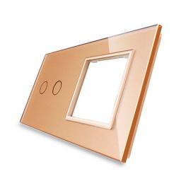 Frontal 2X Cristal Golden, 1 Hueco + 2 Botones