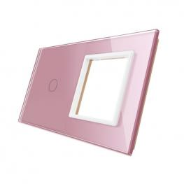 Frontal 2X Cristal Rosa, 1 Hueco + 1 Botón