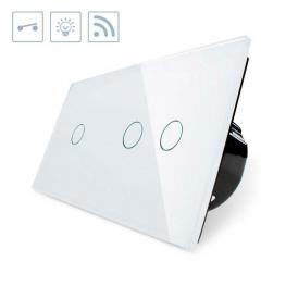 Interruptor 2 Módulos Táctil + Remoto, 3 Botones, Frontal Blanco