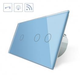 Interruptor 2 Módulos Táctil + Remoto, 3 Botones, Frontal Azul