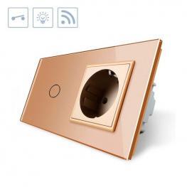 Interruptor Táctil, 1 Boton + 1 Enchufe, Frontal Golden + Remoto